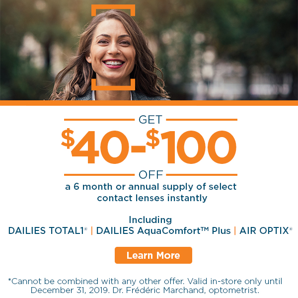 Alcon Contact Lenses sale. Total1 and AquaComfort Plus Dailies and Air Optix Monthlies. In-store Discounts at all Visique Clinic Locations.